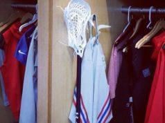 New York Giants Linebacker Mark Herzlich Under Armour lacrosse stick in his NFL locker
