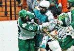 Six Nations Chiefs vs Victoria Shamrocks 2014 Mann Cup box lacrosse Credit: Darryl Smart box lacrosse violence