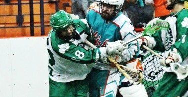 Six Nations Chiefs vs Victoria Shamrocks 2014 Mann Cup box lacrosse Credit: Darryl Smart box lacrosse violence
