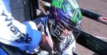 spotted bull riding box lacrosse helmet