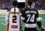 Miles Thompson and Jeremy Thompson Minnesota Swarm vs Edmonton Rush NLL Photo Credit: Dale MacMillan