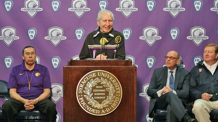 Oren Lyons of Onondaga Nation announcing the World Indoor Lacrosse Championship 2015 WILC 2015