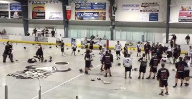 Jr A Lacrosse Fights - Whitby Warriors at Orangeville Northmen Bench Clearing Brawl: