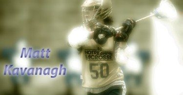 Notre Dame lacrosse player Matt Kavanaugh in action.